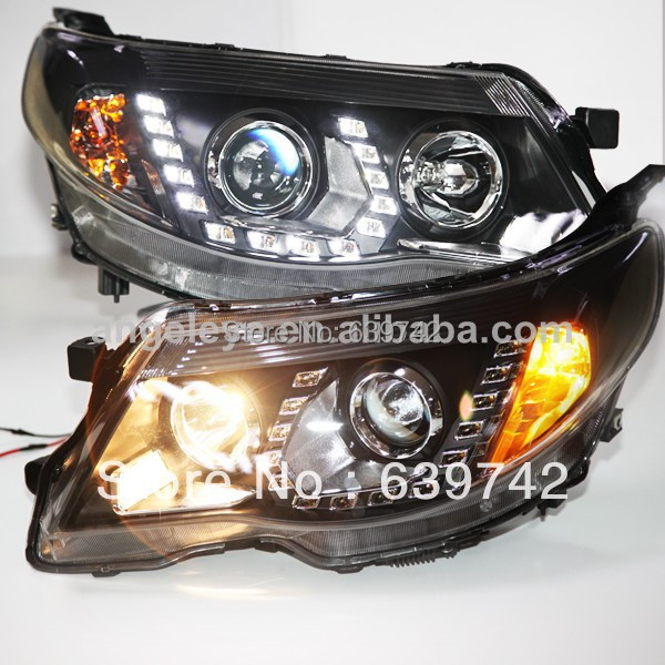For Subaru Forester LED Head Lights with Projetor Lens 2008 -2013 year PW right hand drive chrome housing led head lights with porjector lens for subaru forester pw
