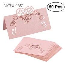 NICEXMAS, 50 шт., лазерная резка, в форме сердца, карты для места, свадебные именные карточки, для свадебной вечеринки, украшение стола, Свадебный декор