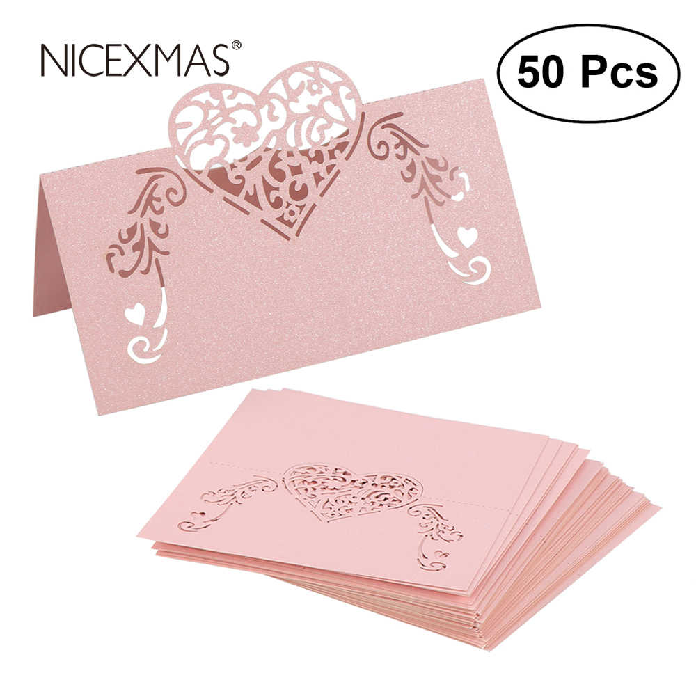 NICEXMAS 50pcs Laser Cut Heart Shape Place Cards Wedding Name Cards For Wedding Party Table Decoration Wedding Decor