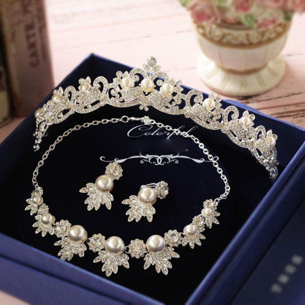 Korean rhinestone simulated pearl bridal necklace ...