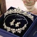 Corea del rhinestone perla simulada aretes collar nupcial corona 3 piezas conjuntos collar de la boda accesorios de la boda