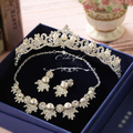 Korean rhinestone simulated pearl bridal necklace earrings crown 3pieces wedding necklace sets wedding accessories