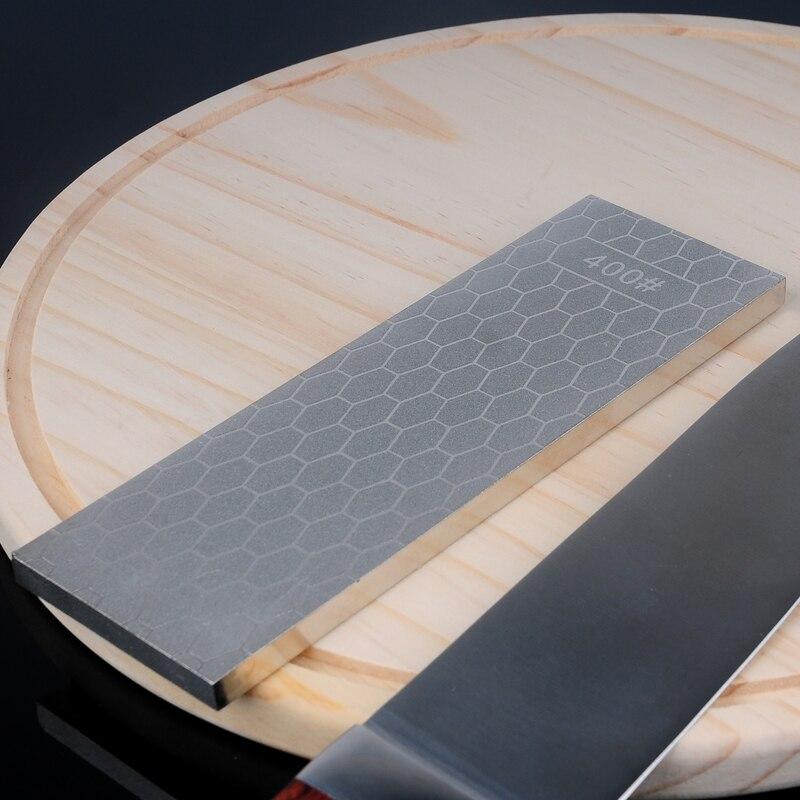 [Video] 1 piezas 400 1000 doble lado grit afilador de diamante afilado piedra herramientas de cocina afilado hoja gruesa afilar