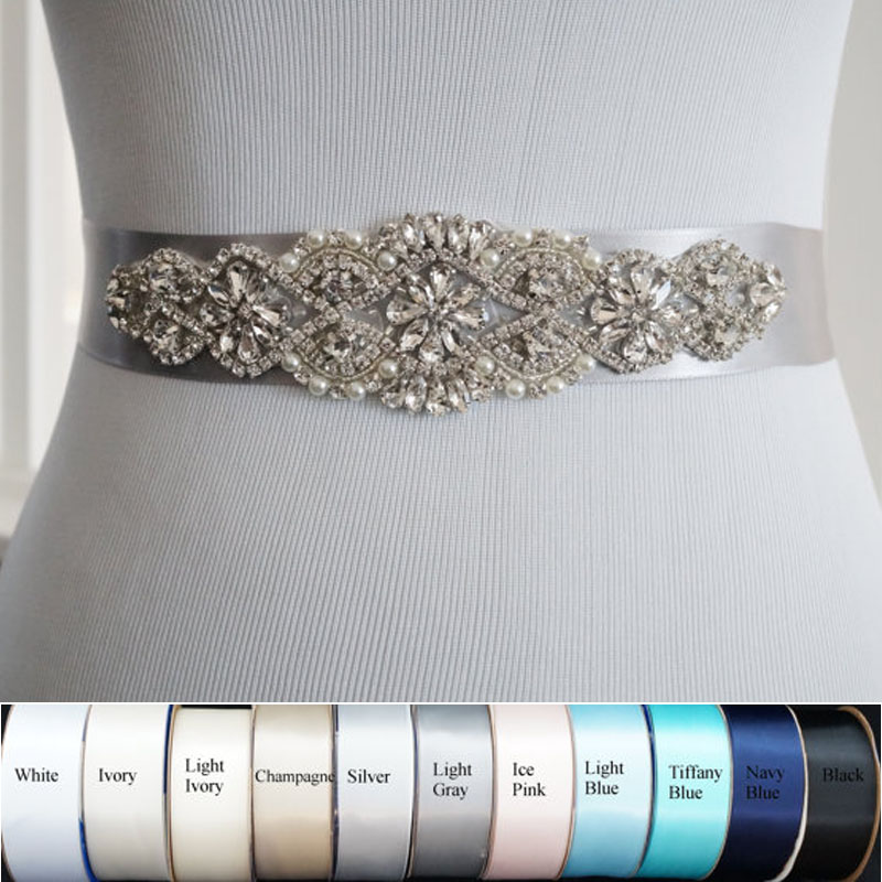 Luxury Elegant Women Brilliant Handmade Crystal Wedding Party Bridal Girls Dress Crystal Rhinestone Sash Belt