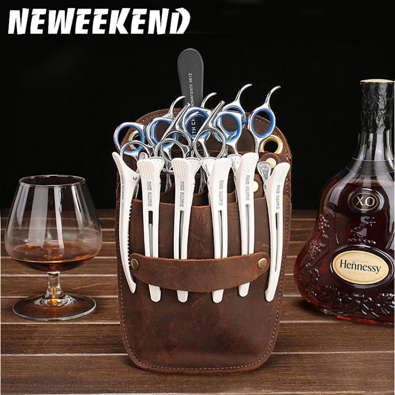Neweekend Salon Barber Toolkit Genuine Leather Hairdressing Scissors Bag Scissors Pockets Hairstylist Holster Pouch Holder Tool
