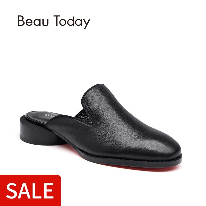 En Pompe Rond Femmes Talon Rouge Main 35036 Sole Véritable À Sur La Noir Ouvert rouge Cuir Slip Chaussures Beautoday Mules Veau 40tx75qww