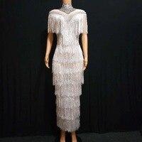 Высокое качество белый цвет кисточка сексуальное облегающее платье в пол платье со стразами водолазка вечернее платье для женщин