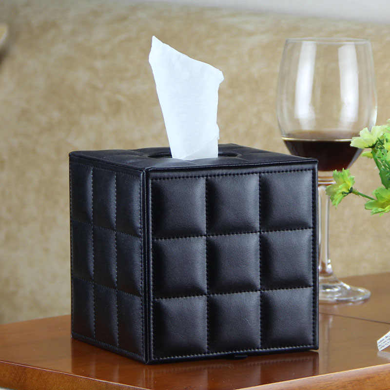 1pc PU Tissue Paper Organizer Box Napkin Holder Storage Box European napkin tissue box Porta rotolo in pelle H99F