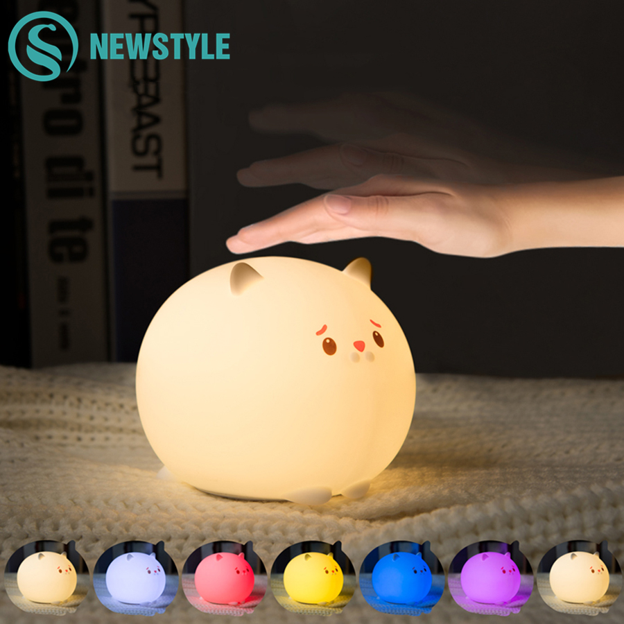 Adorable Cat LED Night Light For Children Baby Kids Bedside Lamp  With Magnet Multicolor Silicone Tap Control Nightlight