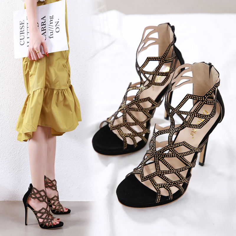 Fashion Rhinestone Hollow Gladiator Women 39 s Sandals Sexy Stiletto High Heels Roman Shoe Party Ladies Zipper Casual Shoes NIUFUNI in High Heels from Shoes