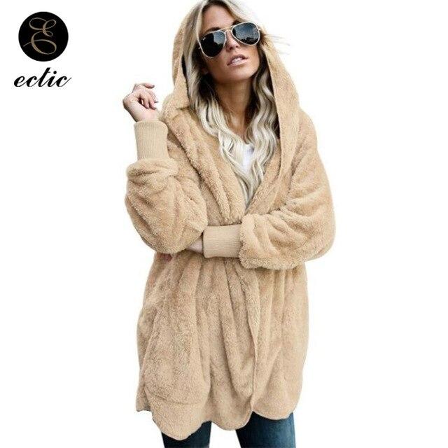super populaire 7ef67 c7873 US $12.47 32% OFF|Tunic Faux Fur Teddy Bear Sobretudo Manteau Femme Hiver  Winter Modis Harajuku Jacket Women Punk Rave Kawaii Jacket Warm Hooded-in  ...