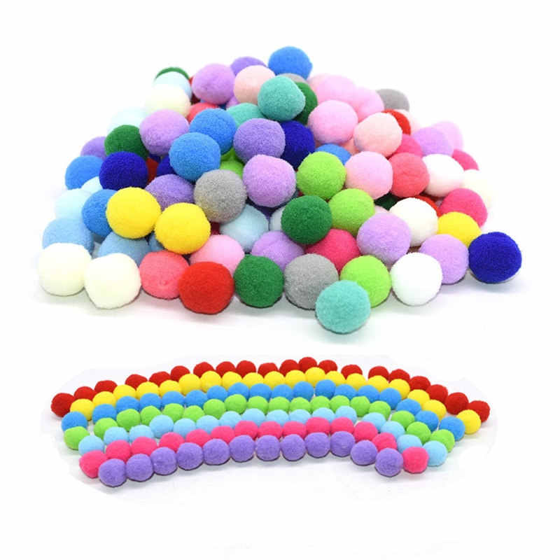 100Pcs 15/20/25mm Fluffy Soft Pompom Balls Handmade Kids Toys Wedding Decoration DIY Pom Poms Felt Ball Sewing Craft Supplies