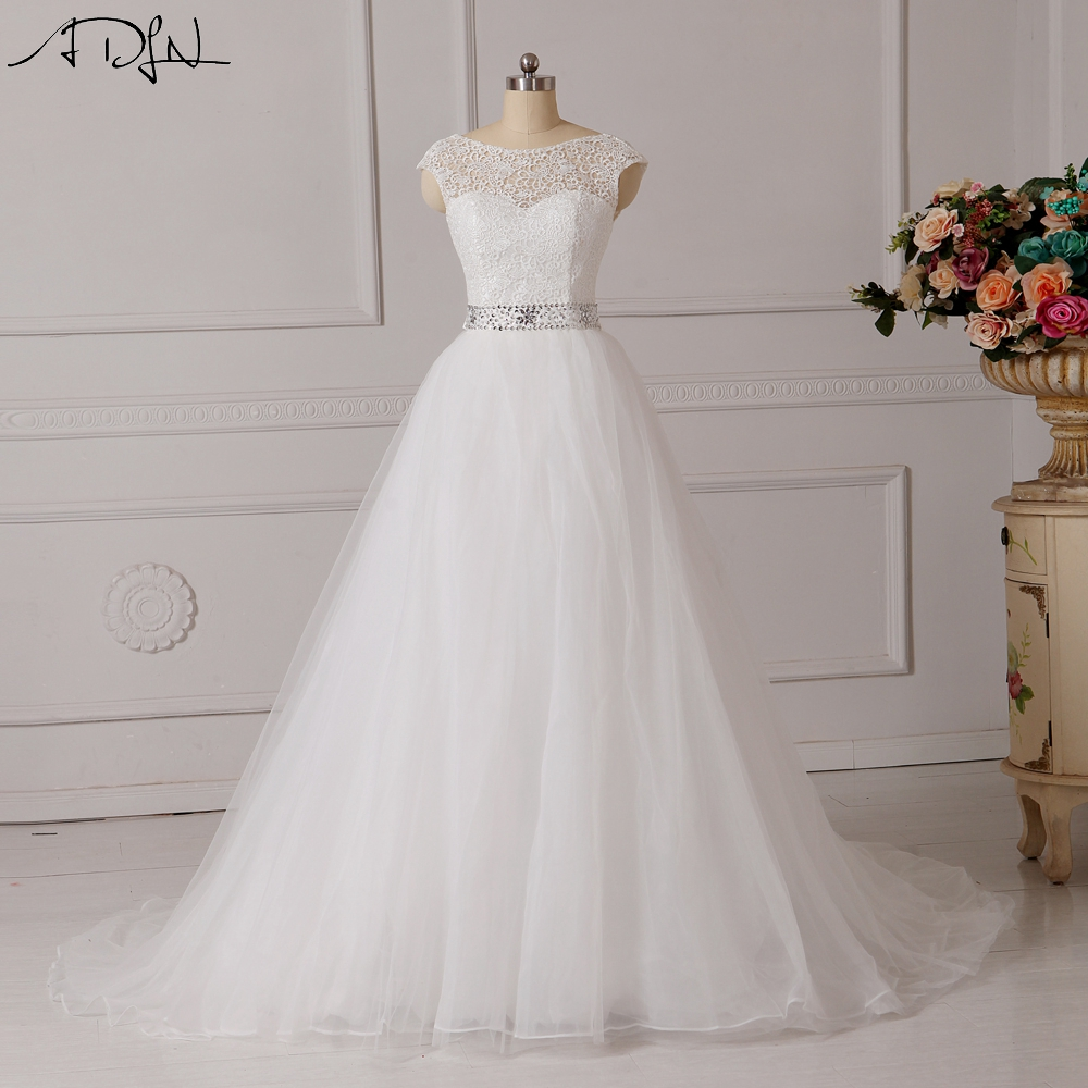 ADLN Elegant Lace Wedding Dress Vestido de Noiva A-line Scoop Putih / Gading Plus Size Puteri Rusia Bridal Gown Customized