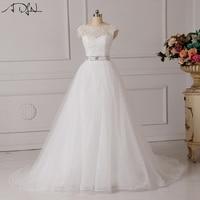 Vestido De Noiva Lace And Tulle Bride Wedding Dress 2016 Princess Tube Top Beading Wedding Gown