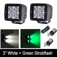 24 W Branco/Verde Cor Strobeflash LED Trabalho Leve Bar 3X3