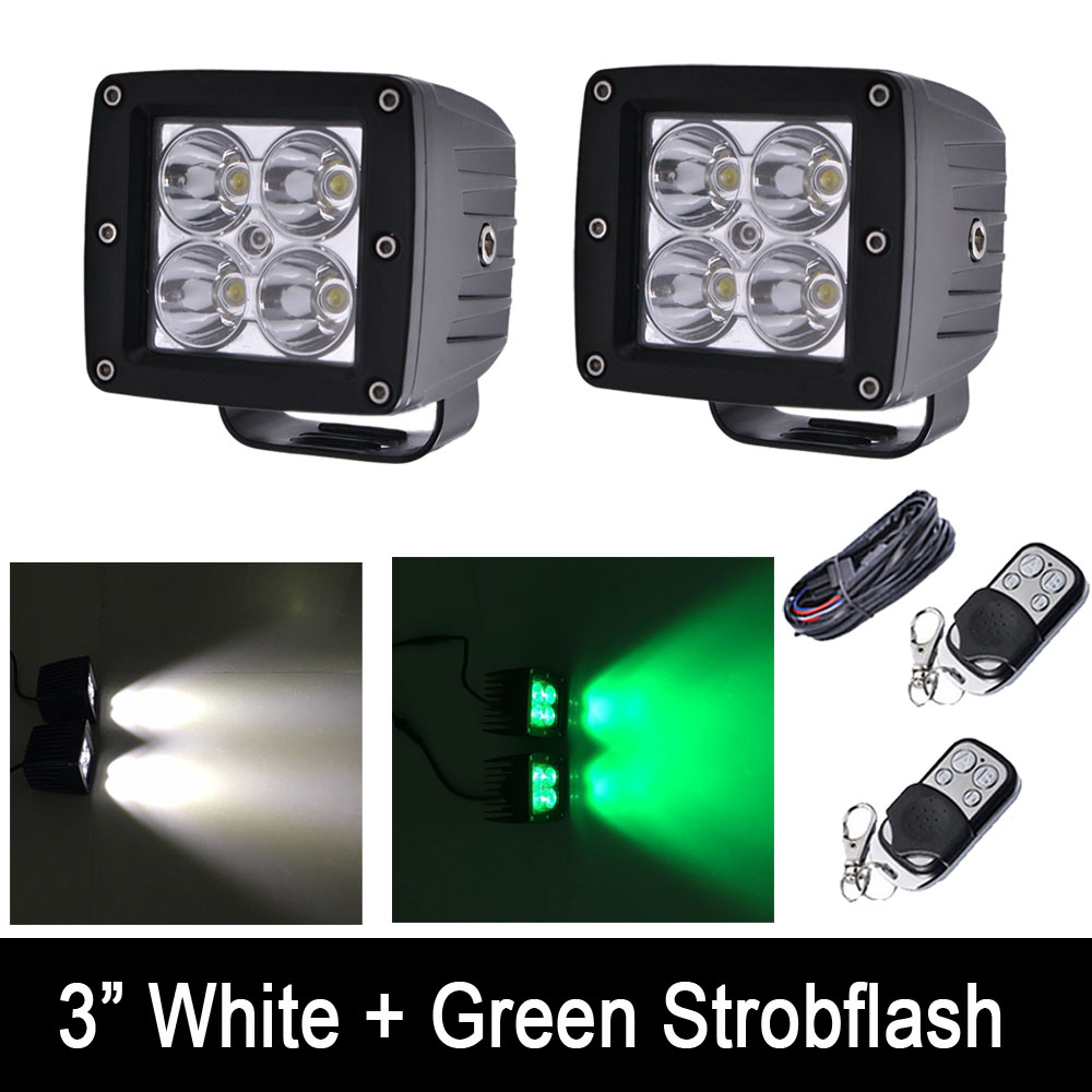 24W White /Green Color Strobeflash LED Work Light Bar 3X3 Cube Pods Offroad Spot Flood Fog Lamp for Offroad 4x4 JEEP SUV ATV 22 inch led bar offroad 120w led light bar off road 4x4 fog work lights for trucks tractor atv spot flood combo led lightbars