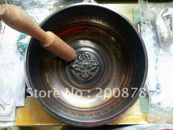 TBC950  Tibetan big brass singing bowl,carved cross dorje Buddhist Prayer bowl,5.5'',Low MOQ