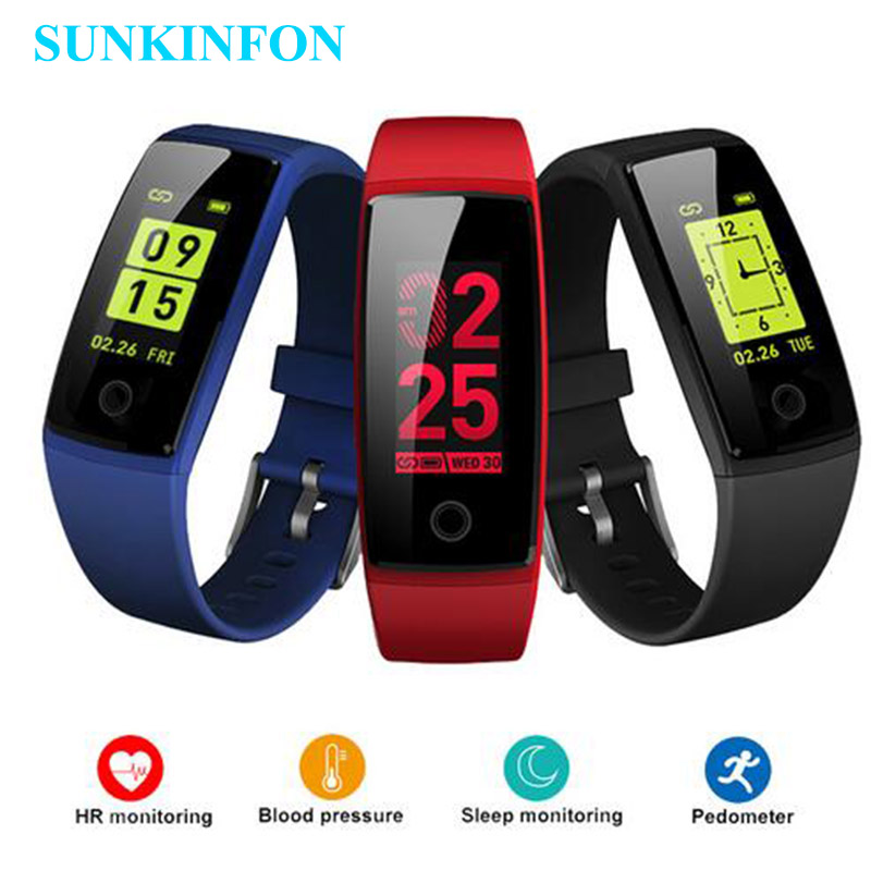 Colorful Smart Wristband Fitness Bracelet Heart Rate Monitor Band Acitivity Track Pedometer Blood Pressure for iPhone X 8 7 Plus