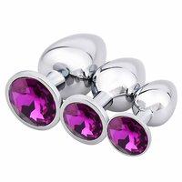 3 Pcs Luxury Jewelry Design Fetish Stainless Steel Anal Butt Plug Fantasy Sex Restraints Bondage With