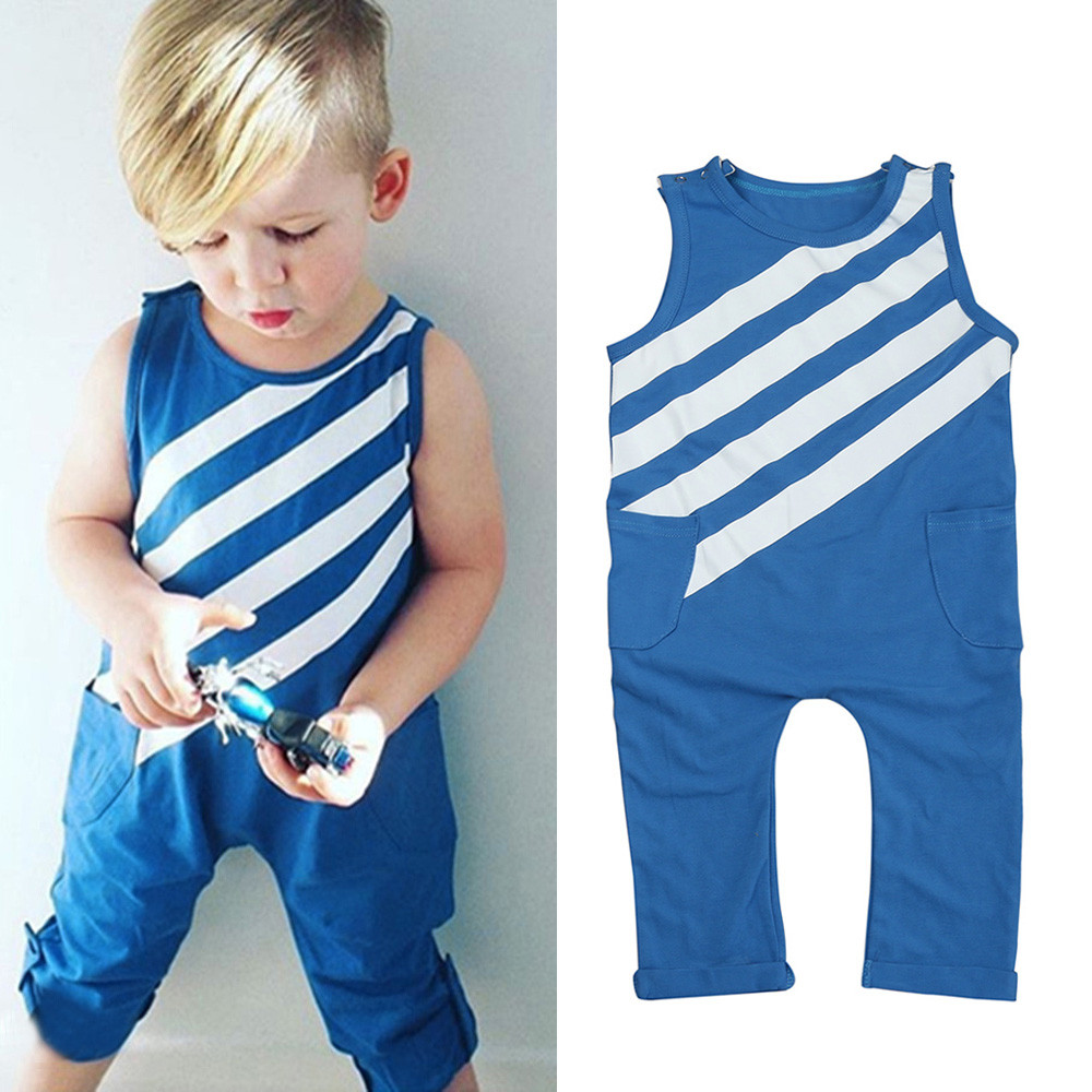 Newborn Infant Toddler Baby Boy Striped Jumpsuit Sleeveless Pockets Romper Kid Boys Playsuit Outfits Clothes 0~3T Dropshipping 2017 denim romper newborn baby boy girl summer sleeveless pocket clothes toddler kids jumpsuit sunsuit children clothing outfits