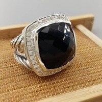 Ювелирные изделия из стерлингового серебра 17 мм кольцо из черного оникса аметист голубой топаз прасиолит дымчатый кварц прозрачный кварц