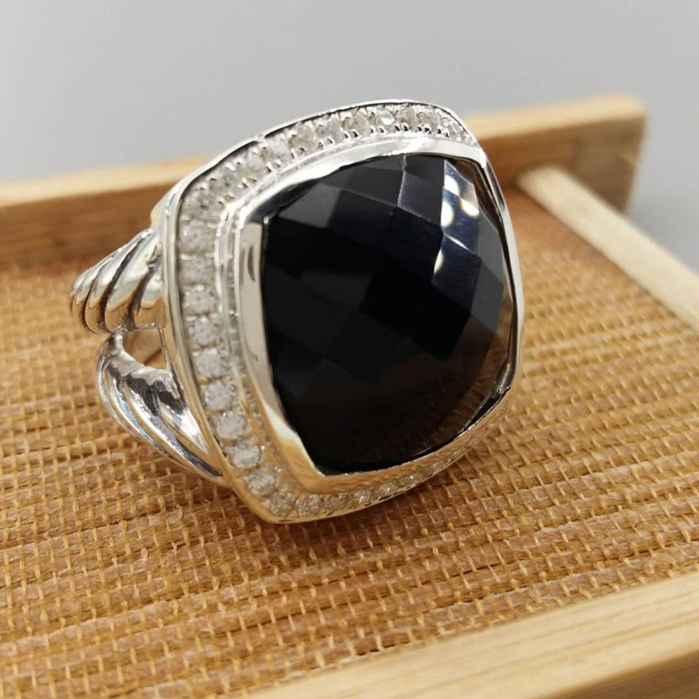Sterling Silver Jewelry 17mm Black Onyx  Ring Amethyst  Blue Topaz  Prasiolite  Smoky Quartz Clear Quartz 925 Silver Wowen Ring