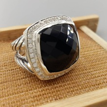 Sterling Silver Jewelry 17mm Black Onyx  Ring Amethyst Blue Topaz Prasiolite Smoky Quartz Clear 925 Wowen