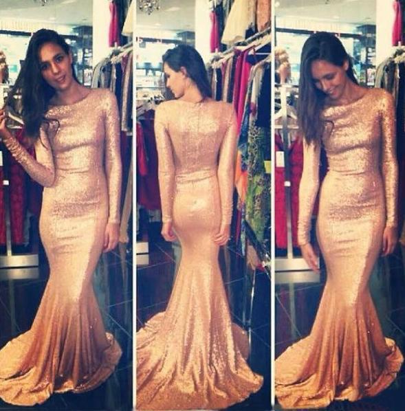 2015 Long Sleeve Mermaid Evening Dresses Rose Gold Sequins Bling