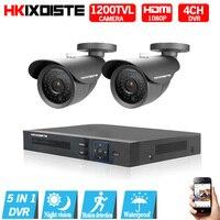 Security Camera System 4ch CCTV System 2 X 1200TVL CCTV Camera 720P Camera Surveillance System Kit