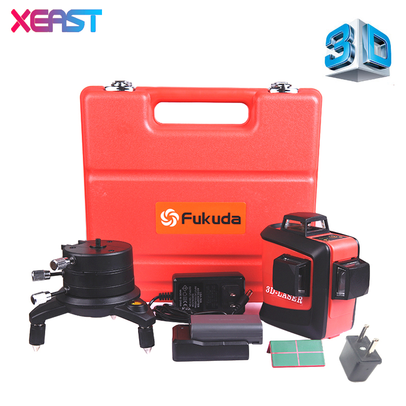 Fukuda 12 lines MW-93T lithium battery green  laser level 360 Vertical And Horizontal Self-leveling Cross Line 3D Laser Level xeast 12 line laser level 360 vertical and horizontal self leveling cross line 3d laser level red beam better than fukuda