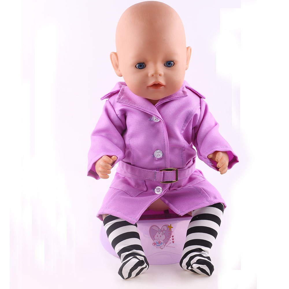 Fashion Purple Clothes Fit  43cm Zapf Baby Born Doll Clothes Children Christmas Gift Free Shipping purple baby born doll dress clothes fit 43cm baby born zapf or 17inch doll accessories handmade fashion party skirt 015