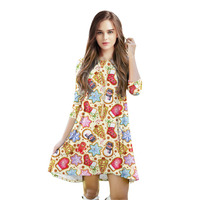 2018 New Summer Dress Fashion Women Casual Seven Point Sleeve Printted Bronzing Dresses Loose Plus Size