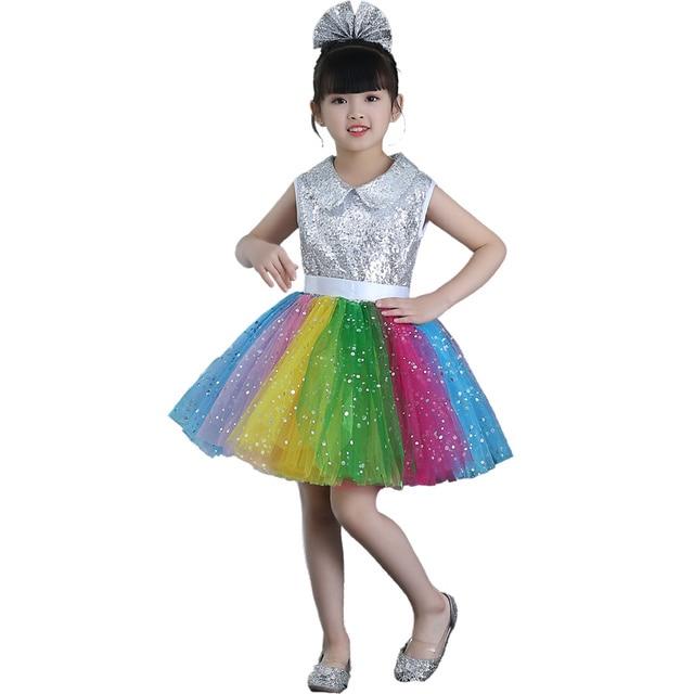 f654fbedf 2018 Childrens fancy dress modern salsa Sequins dancing dress of girl kids  dance dress for girls competition dance costume wear
