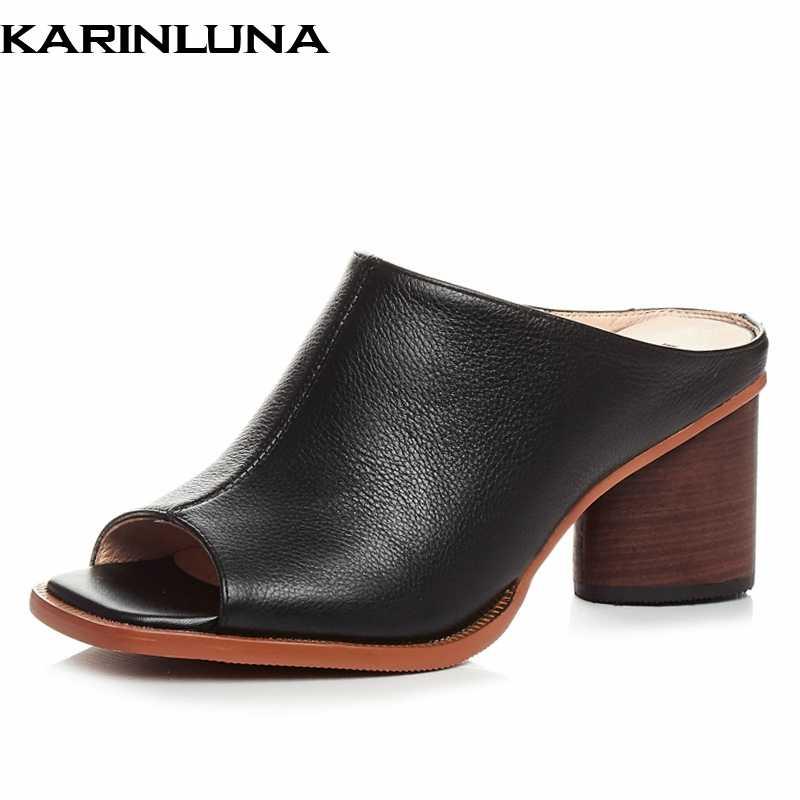 Karinluna 2019 sıcak satış marka tasarım hakiki deri yüksek topuklu parti ayakkabıları Kadın zarif kadın katır ayakkabı pompaları