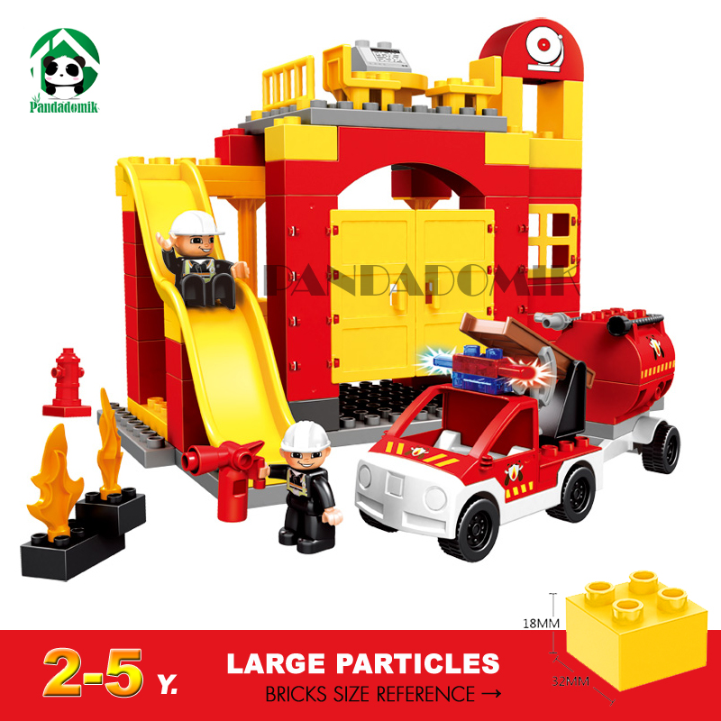Large Fire Station Building Blocks Bricks Educational Toys Learning Education Baby 2-5 years Constructor set Toys for Children large fire station building blocks bricks educational toys learning education baby 2 5 years constructor set toys for children