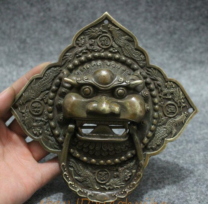 Chinese Dynasty Bronze Dragon Phoenix Lion Head Mask Statue Gate Door Knocker
