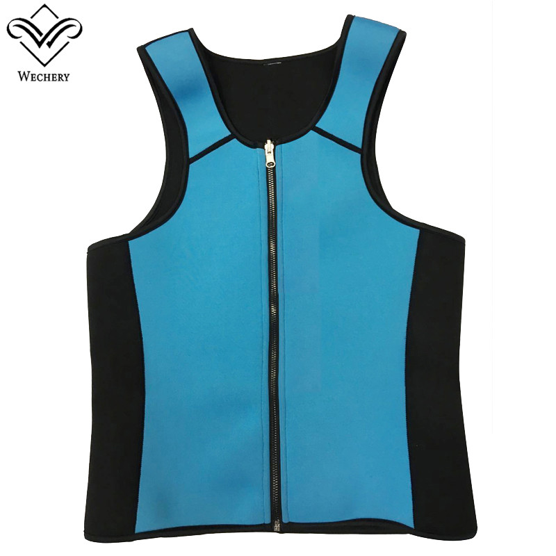 Wechery Neoprene Body Shaper men`s Vest Ultra Plus Size Slimming Waist Shaperwear Faja Cinchers Sauna Tops Sweat Suit