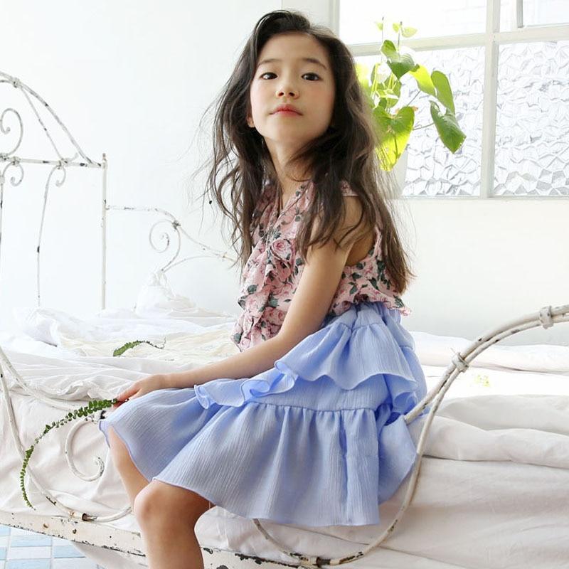 Girls Chiffon Shirt and Skirt Girls Suit Sweet New 2019 Summer Kids Ruffles Set Toddler Clothes Set Baby Outfit Beautiful,#5219