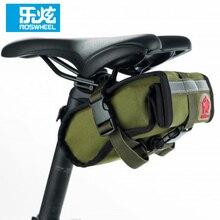 ROSWHEEL Canvas Cycling Bag Bike Bicycle Seat Saddle Rear Tail Tool Bag Green