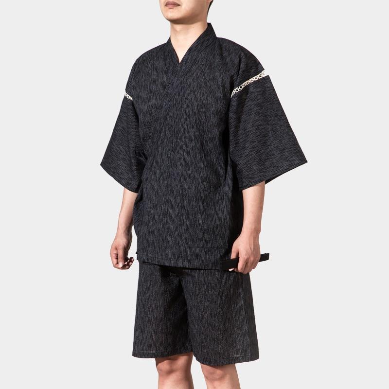 2pc/Set Japanese Kimono Short Sleeve Sleepwear Pajamas Vintage Men Home Dressing Gown Summer Kimono Bathrobes Loungewear 062511