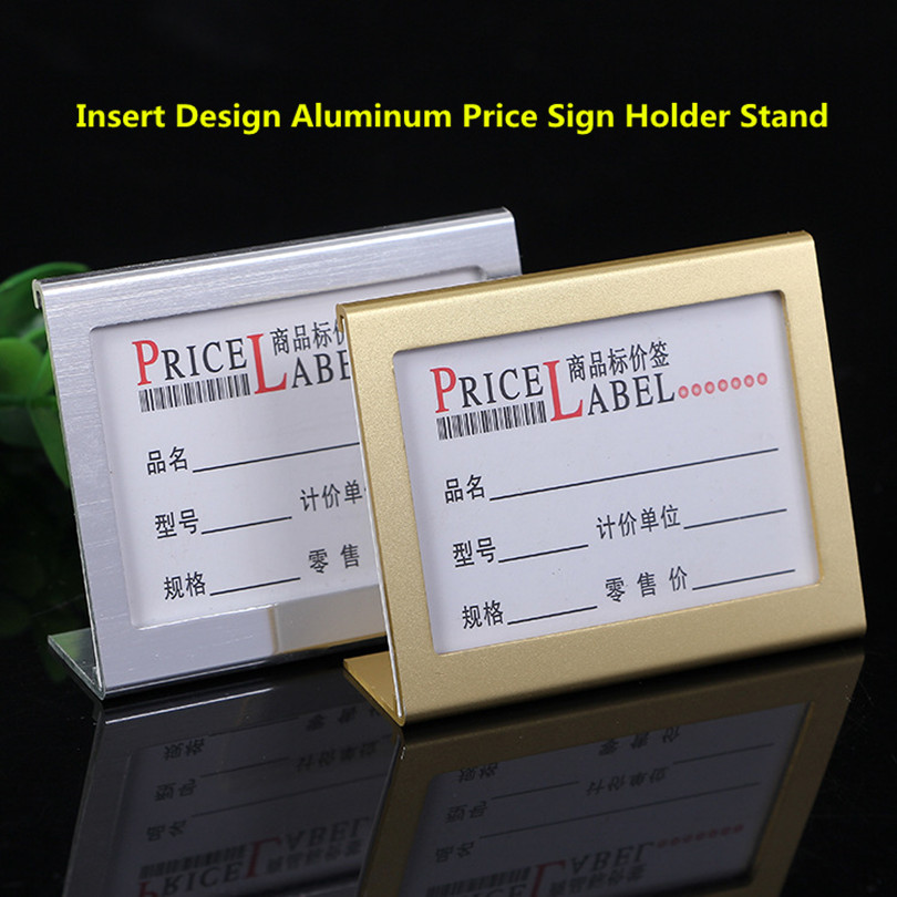 Small Size L Shape Aluminum Table Sign Price Tag Label Display Stand Price Paper Card Holder For Supermarket ,gift Store
