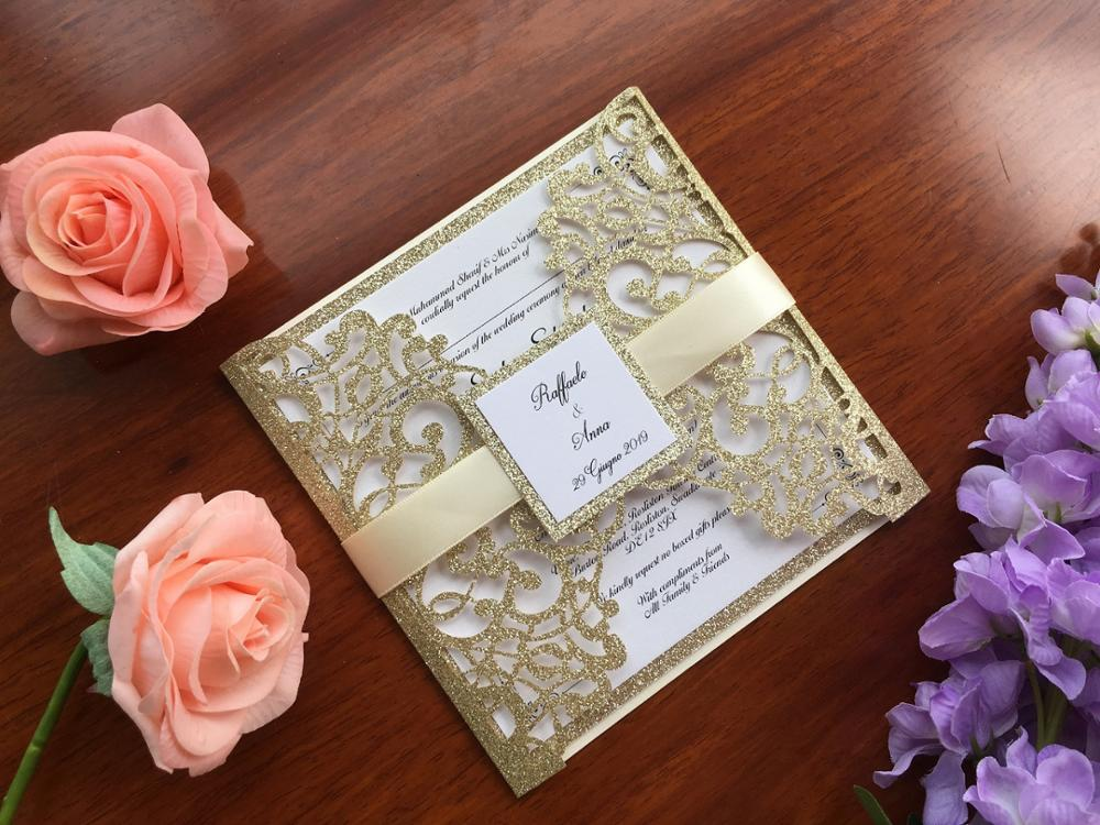 Customized Laser Cut Glitter Gold Wedding Marriage Party Invitation Card With Ribbon And Tag 50PCS Express