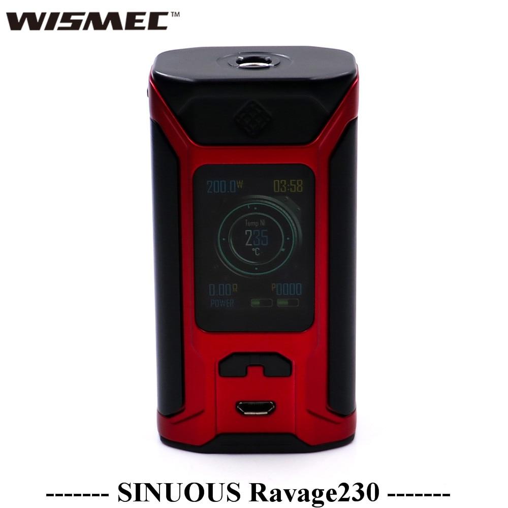 Wismec Sinuous Ravage230 TC Box Mod Electronic Cigarette 200W Sinuous Ravage 230 Box Mod Vape Support Gnome Evo Atomizer R