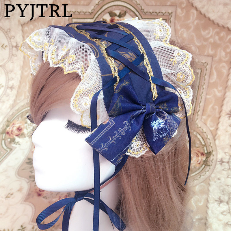 PYJTRL Sweet Lolita Old Castle Fairy Vintage Print Gold Lace Blue Red Black Headband Hair Ribbons Cosplay Accessories For Women