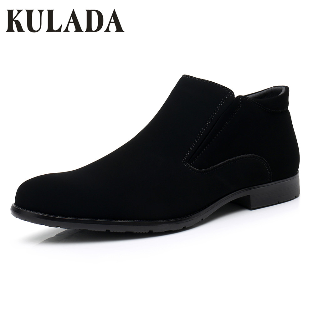 KULADA New Men Shoes Spring&Autumn Ankle Boots Men Zipper Side Leather Oxford Business Boots Men Short Plush Classic Boots