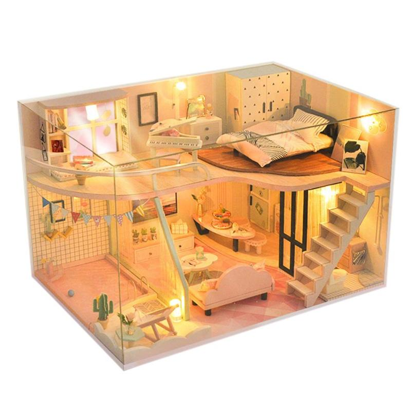 Pinky Dreaming World Doll House Furniture Diy Miniature 3D Wooden Miniature Dollhouse Toys for Children Birthday Gifts image