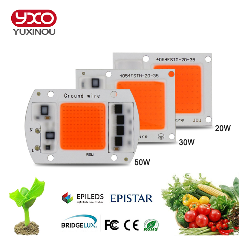 1pcs Hydroponice AC 220V 20w 30w 50w cob led grow light chip full spectrum 380nm-840nm for Indoor Plant Seedling Grow and Flower