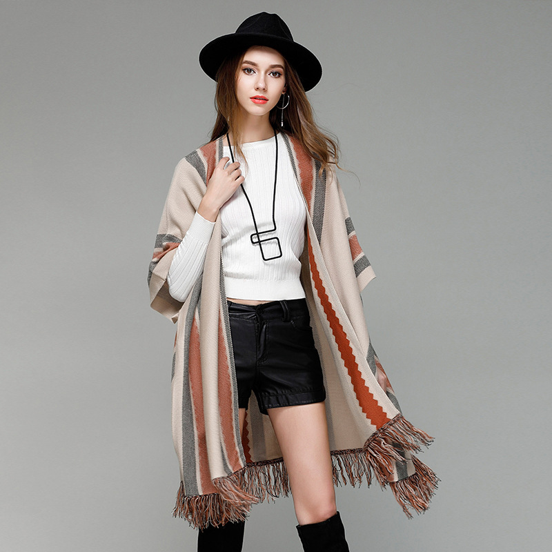 2017 New Cardigan Coat Striped Loose European Knitted Sweater Poncho Shawl Open Stitch Autumn Winter Women Cardigans 0716-67