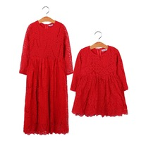 Family Matching Outfits Winter Fashion Christmas Look Mother Daughter Dresses Red Lace Patchwork Wedding Dress Outfits