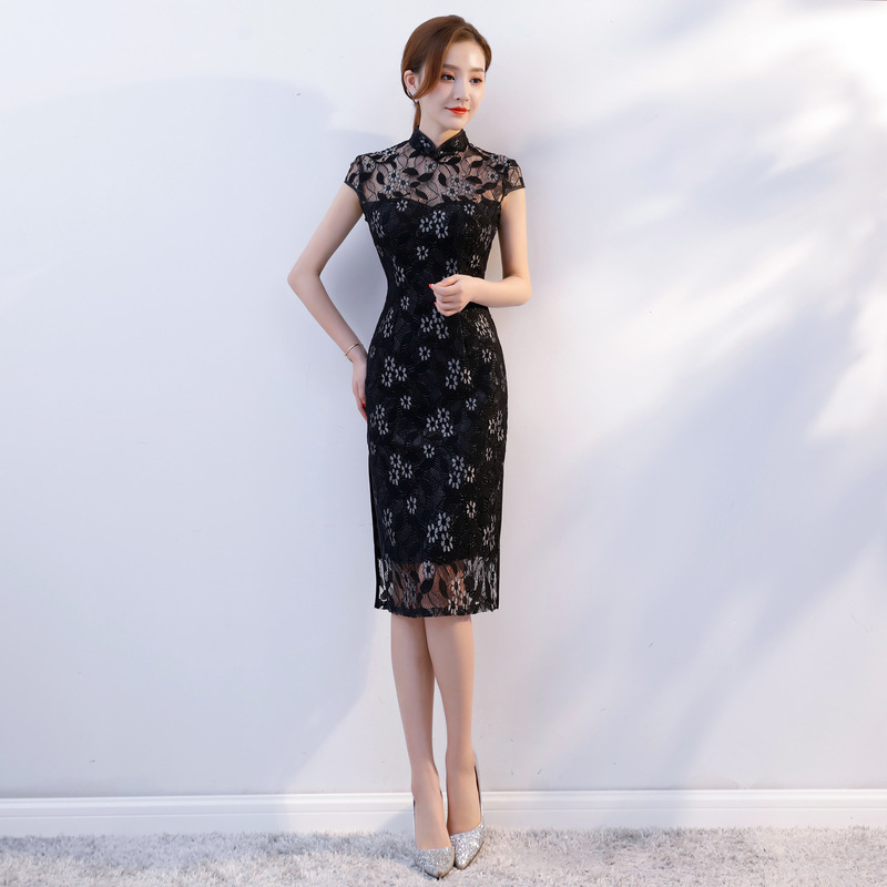 Femmes Dentelle Qipao Chinois Longueur Mandarin Nouveau Robe Sexy Col blanc Cheongsam Partie Robes Noir Style 2019 Noir Genou Mince Lady JcTF3lK1